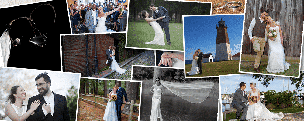 a collage showing george's wedding photographer's work
