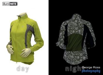 Comparison photo of day and night use of an IllumiNITE jacket