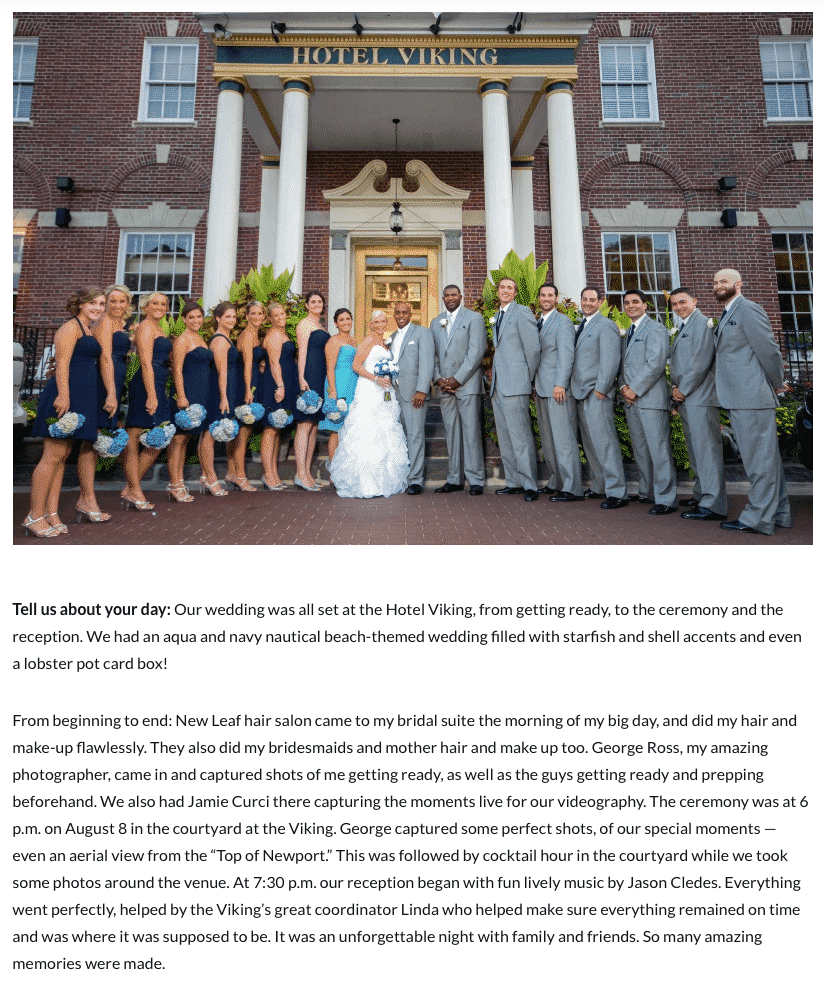 Hotel Viking Wedding, Newport, Rhode Island