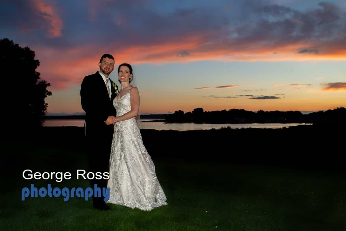 Sunset Wedding Photo at harbor Lights, RI