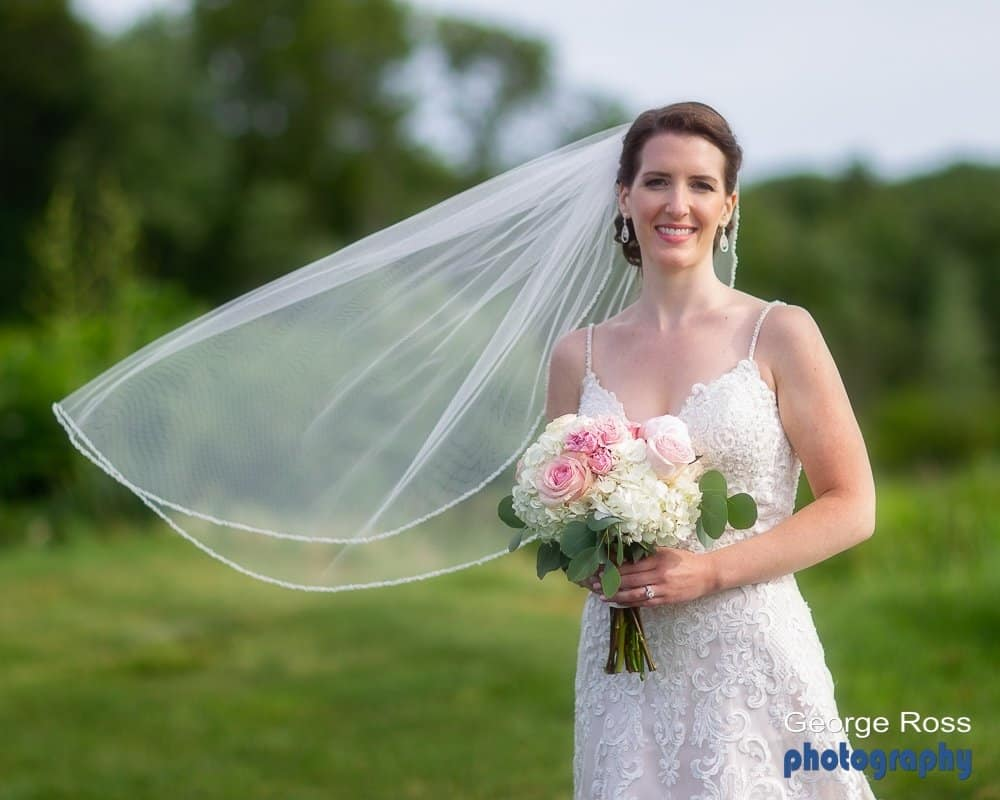 bride with a flying veil