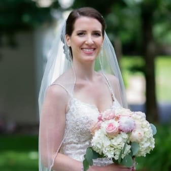 beautiful bride photographed with her bridal floral bouquet
