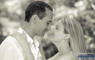 a newly engage couple frech kiss