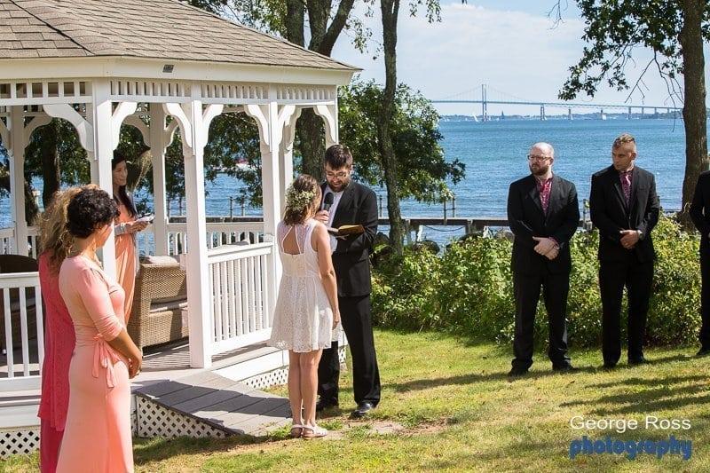 Hannah and Myck's Jamestown, Rhode Island, backyard wedding