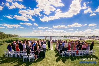 Harbor Lights Wedding ceremony outside