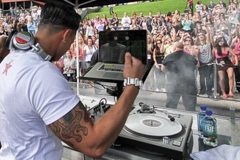 DJ Pauly-D at a street party in Providence, Rhode Island