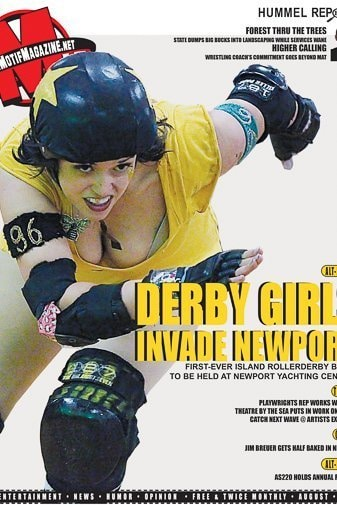 roller derby girl on the cover of Motif Magazine, Providence