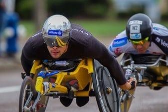 Wheelchair racing division at the Boston Marathon
