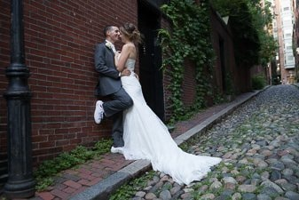 Bride and groom portrait on Acorn Street, Boston