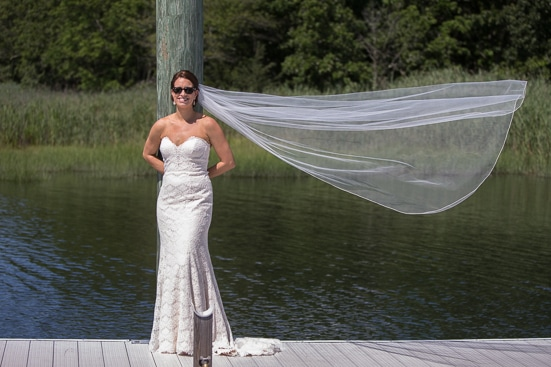 Bride with flying veil, Harbor Lights Wedding, Warwick, Rhode Island