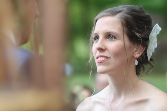 Close up of bride looking at her groom