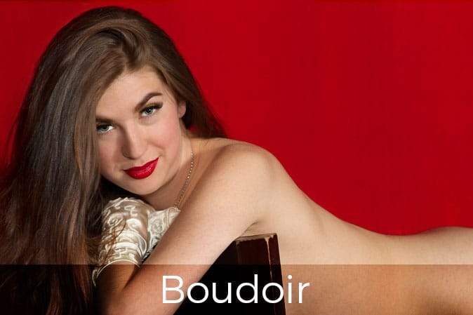 Naked woman with long hair on chair, Boudoir Photography