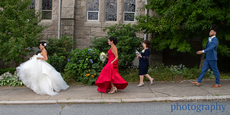 bridal party walking in single file