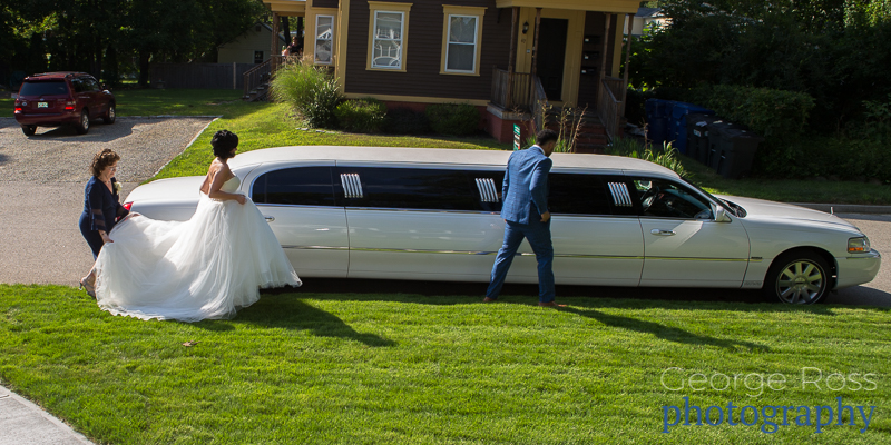 bride walking to her limo