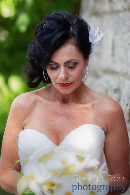 bride looking down with eyes closed