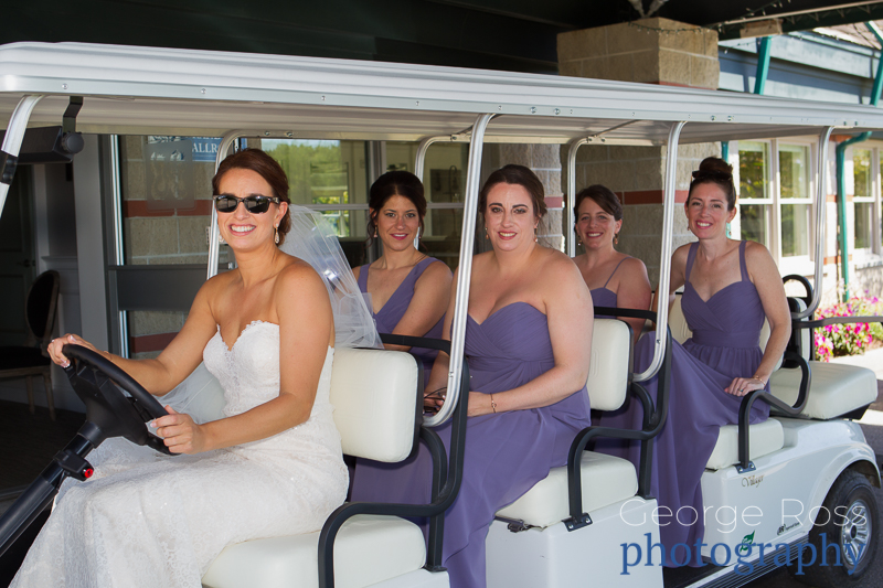 bride and bridemaids in gold cart at harbor lights, warwick