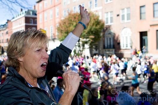 race announcer encouraging runners