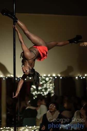 Burlesque pole dancer