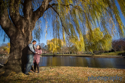 engagement photoshoot in boston common with beautiful fall colors
