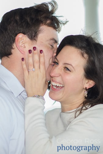 a women is ecstatic after being proposed to at The Ocean House in castle Hill, Rhode Island