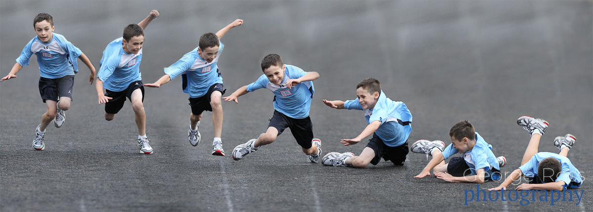 sequential shot of a youth catching a toe on the track