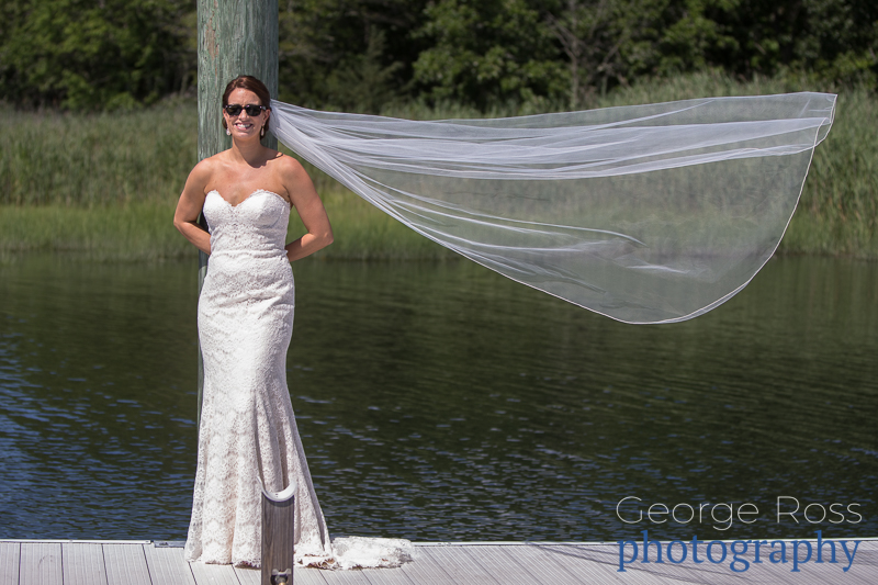 bride with flying veil