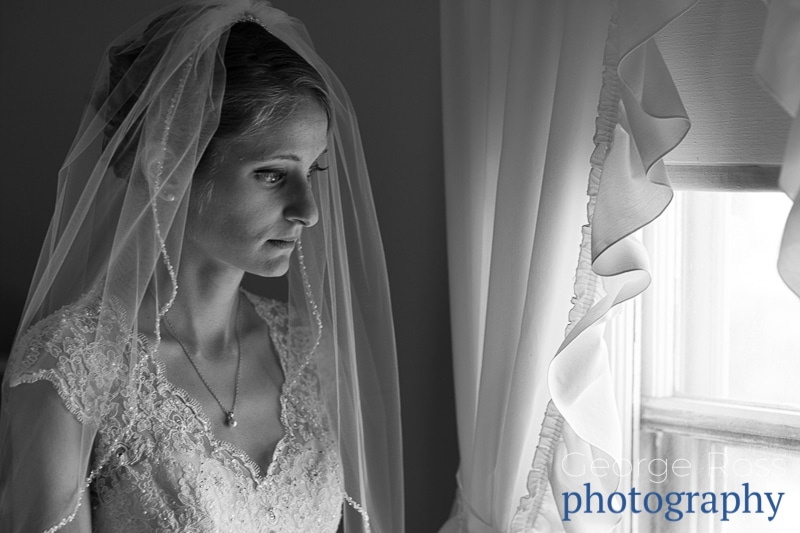 pensive looking bride