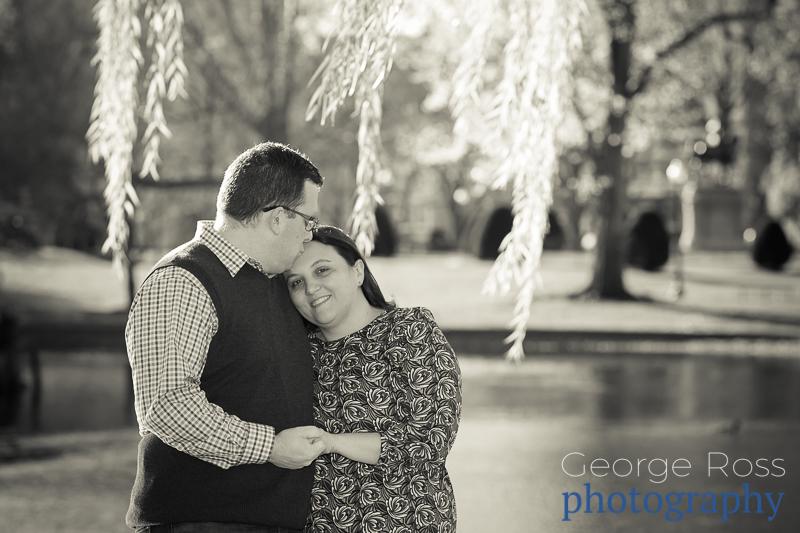 bill and jess's engagement shoot on acorn street, boston