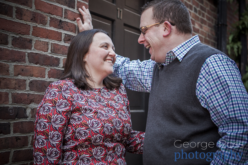 bill and jess's engagement shoot on acorn street, boston