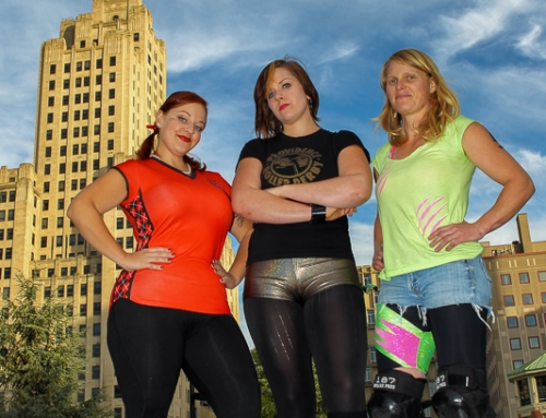 Providence Roller Derby's Captains at the Providence Outdoor Rink, 2014