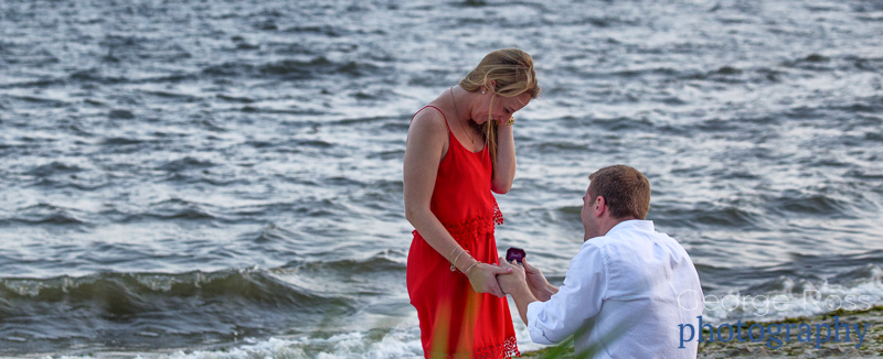 a surprise proposal at the beach