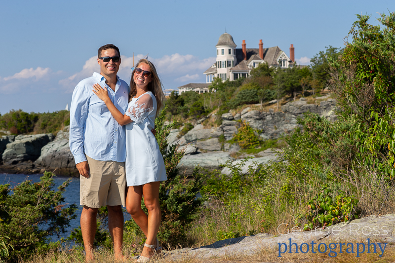 jason and sydney after their proposal at the castle hill hotel, newport, rhode island