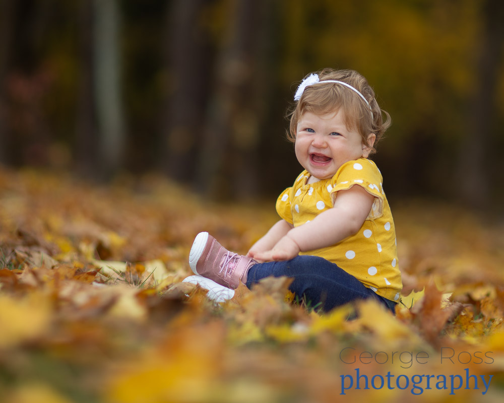 rhode island family photography: baby sitting in yellow fall leaves