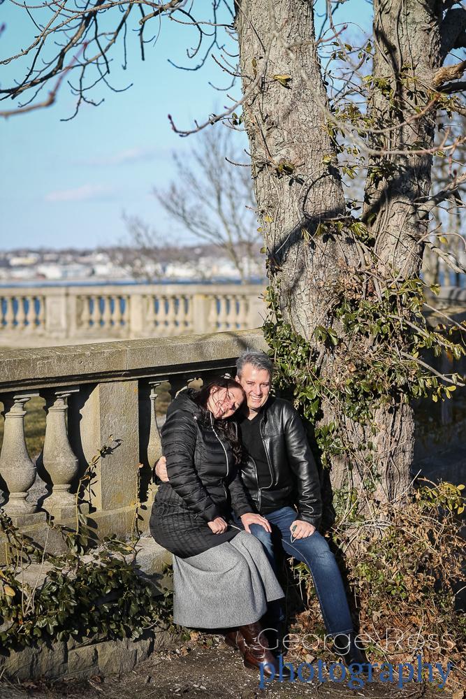 couple on a bech at cliff walk, newport, rhode island