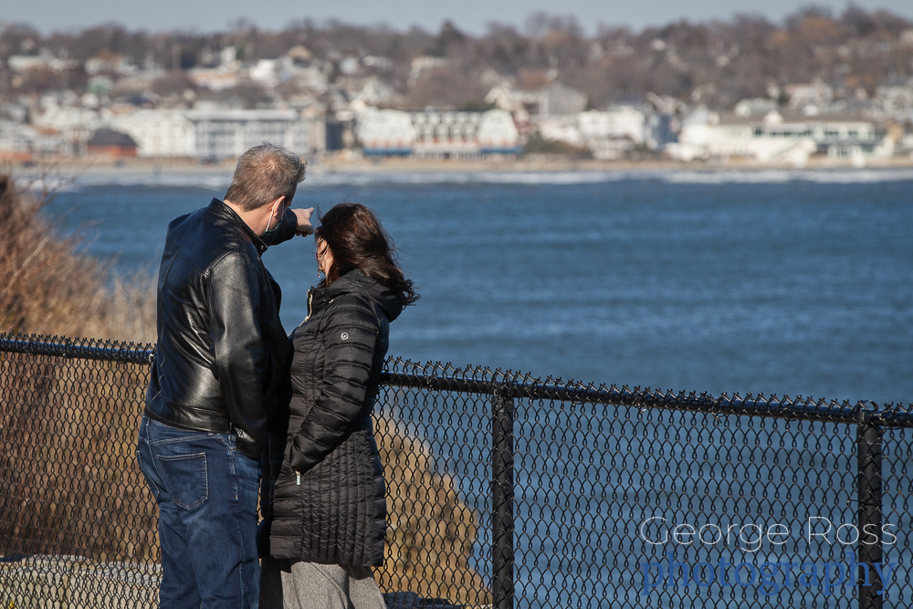 a couple at cliff walk, newport