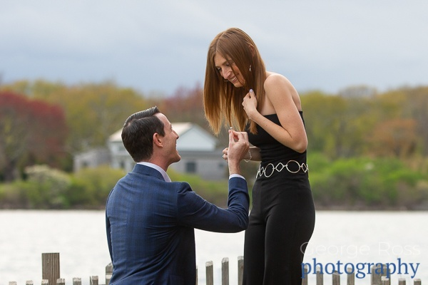 man proposing to his soon to be fiancé in east matunuck, rhode island