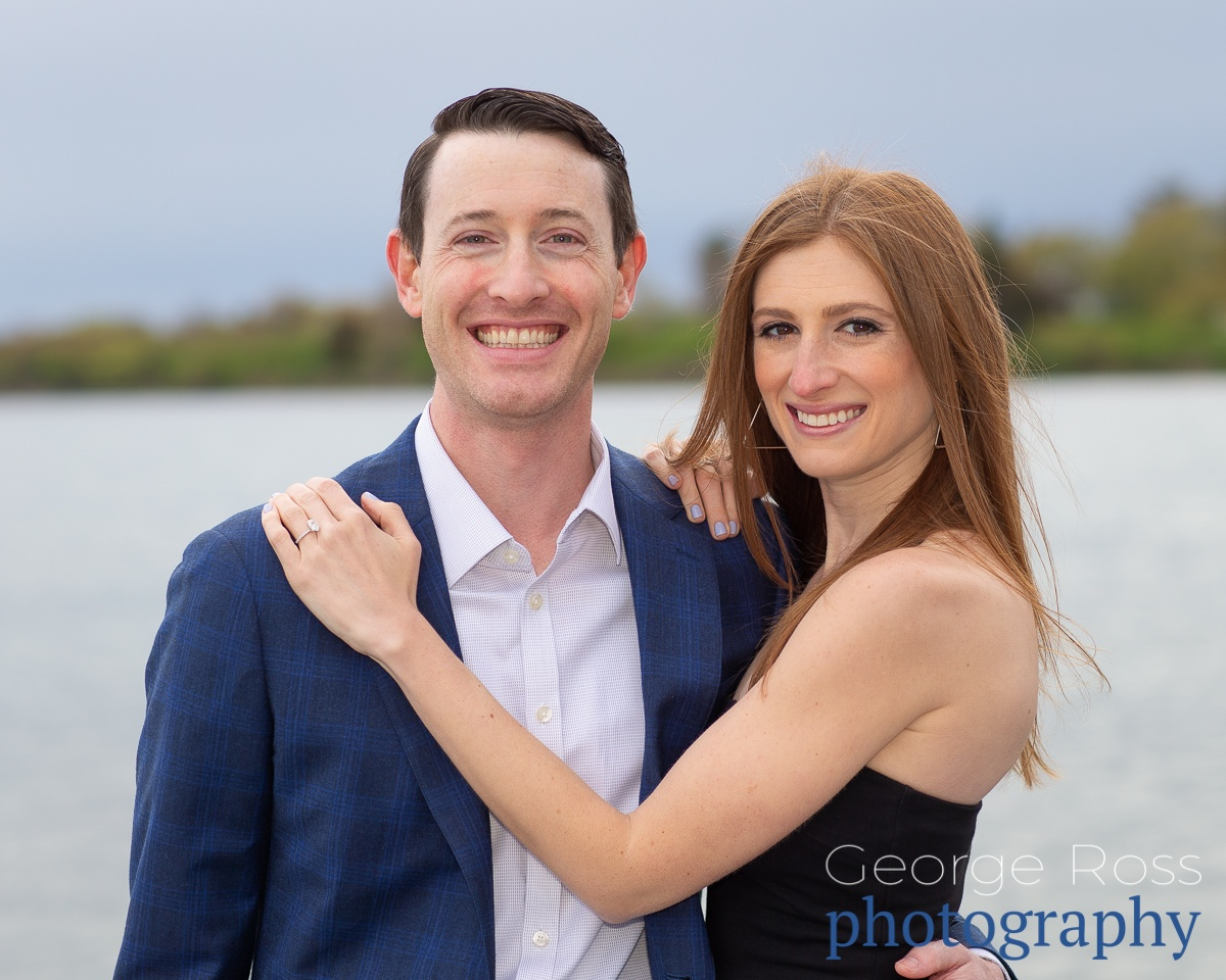happy couple after a successful wedding proposal, in east matunuck rhode island