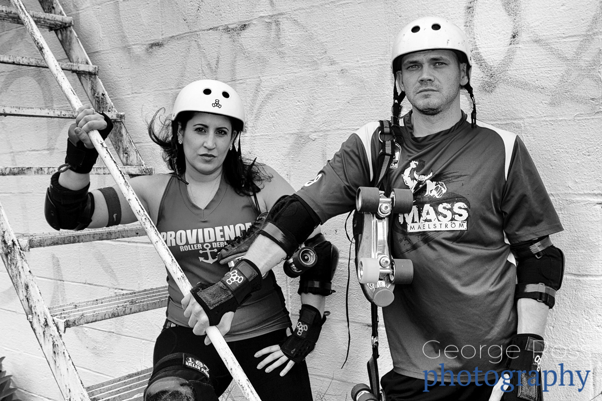 a roller derby couple, close up