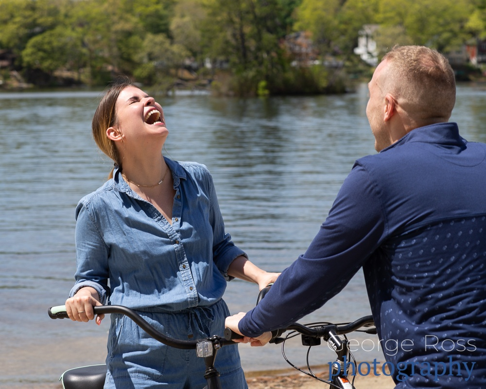 A very happy couple after a successful surprise proposal at Slack Reservoir, Rhode Island